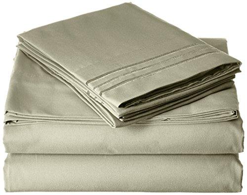 Elegant Comfort Bettwäsche-Set, Fadenzahl 1800, ägyptische Qualität, luxuriös, seidig weich, knitterfrei, lichtecht, 4 Stück, Tiefe Tasche bis 40,6 cm - alle Größen und Farben, Queen Green -