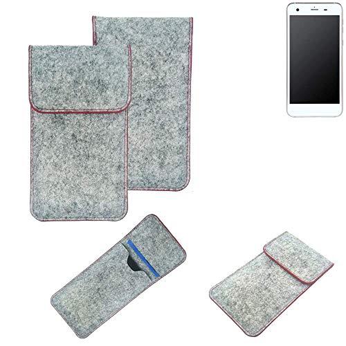 K-S-Trade® Filz Schutz Hülle Für -Vestel V3 5570- Schutzhülle Filztasche Pouch Tasche Case Sleeve Handyhülle Filzhülle Hellgrau Roter Rand