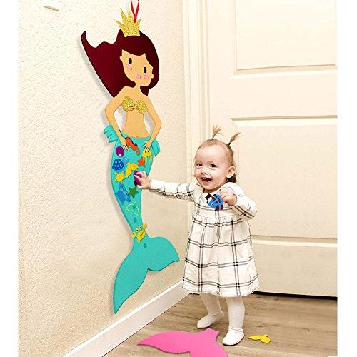 Aytai DIY Cartoon Filz Pin den Schwanz auf die Meerjungfrau Party Spiele mit 14pcs DIY abnehmbare Ornamente, bunte hängende Dekorationen für Kinder Kinderzimmer Schlafzimmer