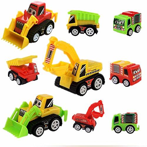 Genießen Spielzeug Modelle Fahrzeuge Auto Verkehrsmodelle Baufahrzeuge Kunststoff Spielzeugauto für Kinder ab 3 Jahren 9 Pcs