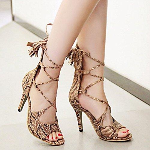 TAOFFEN Femmes Peep Toe Sandales Mode Aiguille Fermeture Eclair Chaussures De Lacets Kaki