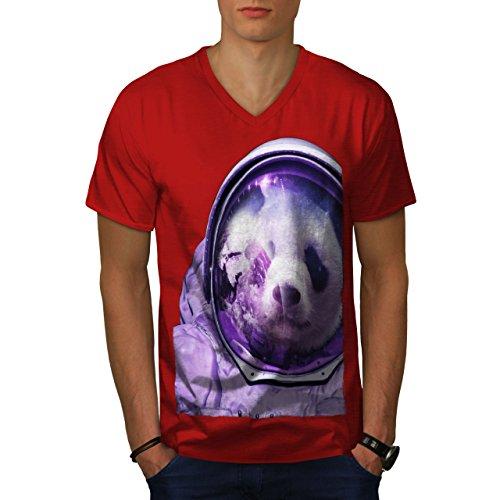 Reflexion Maske Kostüm - wellcoda Astronaut Panda Bär MännerV-Ausschnitt T-Shirt Raumfliegen Grafikdesign-T-Stück
