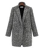 ZLULU Damen Mäntel Jacken Oberbekleidung Parka Winterjacke Damen Hahnentritt-Mischmantel Einzelknopf Tasche Oversized Lange Windjacke Mantel Mantel, XL