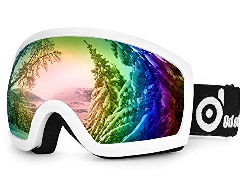 Lunettes de Ski antibrouillard - ODOLAND Masque de Ski étanche pour Homme & Femme avec UV400 Protection - Gris Lentille double et sphérique - unisexe Lunettes confortable pour Jours ensoleillés, nuageux (Grande lentille Blanc)