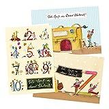 3er Set Einschulungskarten für Junge oder Mädchen, 3 verschiedene Motive, Glückwunschkarten zur Einschulung mit Umschlägen, Zahlen, Tieren und Figuren, retro, vintage, gelb, rot
