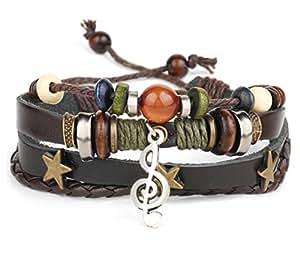 GYJUN Bracelet PU cuir Bracelet musique Note charme multicouches punk hommes pour hommes Fashion bijoux cadeaux , one size