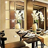Atulya Arts 6 Pieces 6inch Decorative Square Mirror Wall Sticker, 3D Acrylic Stickers for Wall, Self Adhesive Mirror Silver W