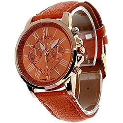 Zolimx Women's Roman Numerals Faux Leather Analog Quartz Wrist Watch Orange