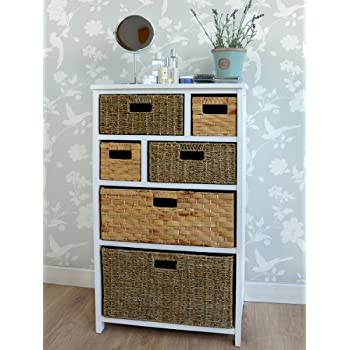Beau Tetbury Large White Storage Unit With 6 Drawers. Hallway Bathroom Basket  Storage. FULLY ASSEMBLED Chest Of Drawers