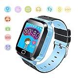 Jaybest Kinder Smart Watch Telefon GPS/LBS Tracker, Kids smartwatch mit SOS Kamera Anti-verlorene Voice Chat für Jungen Mädchen Geburtstagsgeschenke(Blue)