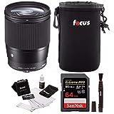 Sigma 16mm f/1.4 DC DN Contemporary Lens for Sony E W/64GB SD Card Bundle