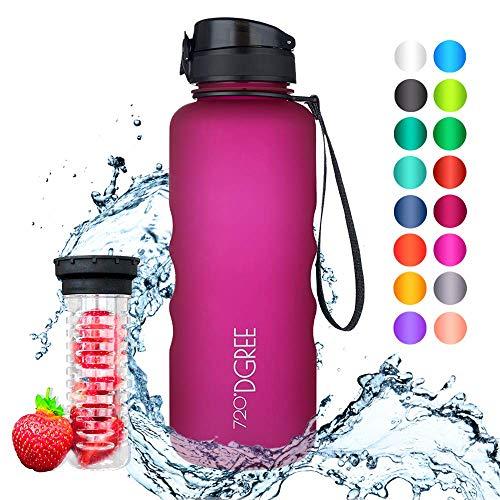 """720°DGREE Trinkflasche \""""uberBottle\"""" - 1,5 Liter, 1500ml, Pink - Neuartige Tritan Wasser-Flasche - Water Bottle BPA Frei - Ideale Sportflasche für Kinder, Fitness, Fahrrad, Sport, Fussball"""