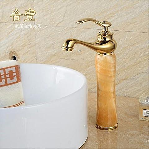 XiaofatYA--Style rétro retro style européen personnalité créative,Robinet,Banc en pierre naturelle à froid et chaud du bassin bassin d'art en cuivre