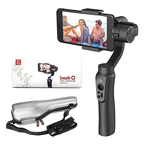 """Zhiyun Smooth-Q 3 Achsen Gimbal für bis zu 6"""" Smartphones, Ohne Zusatzgewichte, einfaches Wechseln zwischen Quer und Hochkant Aufnahmen, 8Std Aufnahme, Taster für Foto/Aufnahme/Zoom (Smooth Q Black)"""