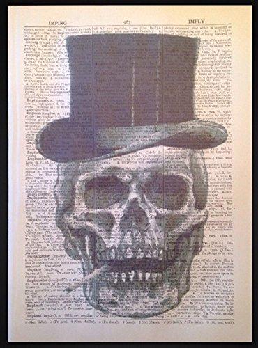 Totenkopf Skelett Gothic Steampunk Art Wand Wörterbuch Seite Print Hipster Top Hat