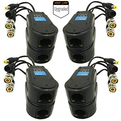 ZEUS-CCTV 4 Paar Passive Video Balun BNC zu RJ45 Adapter mit Power (Upgrade) Full HD 1080P-5MP Überwachung Überwachungskamera Ethernet Transceiver Cat5e / Cat6 Kabel zu BNC-Anschluss - Bnc Passive Video
