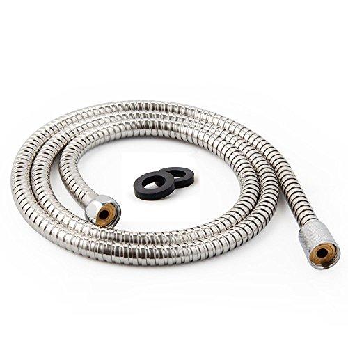 Preisvergleich Produktbild Edelstahl 2m. chrom Flexible Badezimmer Dusche Head Brauseschlauch Rohr mit Unterlegscheiben