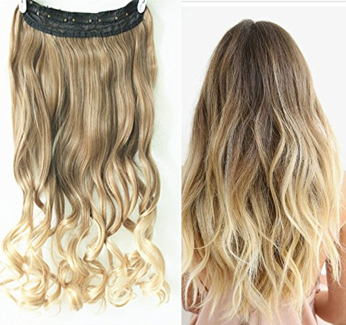 Brown Light Hair Extension Ombre (3/4 Full Head Clip in Hair Extensions Ombre One Piece 2 Tones Wavy (Light ash brown to sandy blonde) by D&L)