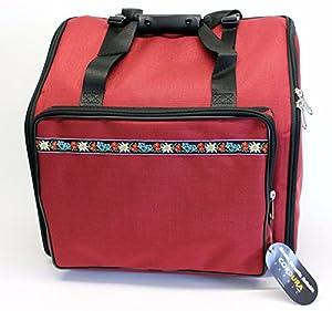 Steirische Harmonika Tasche Rucksack DELUXE-PRO Edelweiss Rot 4-reihig