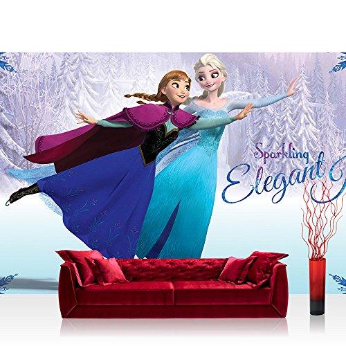 Fototapete 254x184 cm PREMIUM Wand Foto Tapete Wand Bild Papiertapete - Disney Tapete Die Eiskönigin Frozen Kindertapete Animation Prinzessin Elsa Anna blau - no....