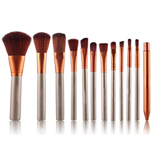 12 pcs Kit d'outils de maquillage cosmétique Fard à paupières lèvres Fond de teint correcteur Lot de pinceaux de