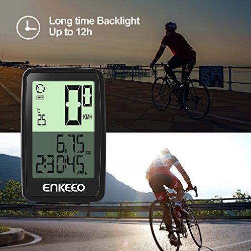 Enkeeo Aufladbare Fahrradcomputer – 1205 Fahrradtacho wasserdicht Radcomputer mit Kabel, 12 Stunden LCD Hintergrundbeleuchtung, Trittfrequenz Sensor, Kilometerzähler - 3