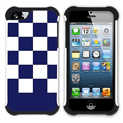 Graphic4You Kariert Muster Design Hart + Weiche Kratzfeste Hülle Case Schale Tasche Schutzhülle für Apple iPhone SE / 5 / 5S (Lila) Marineblau