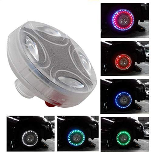 Maso flash Wheel Light, LED colorato Solar mozzo ruota pneumatico luci, valvola del pneumatico Cap Strobe lampada impermeabile kit quattro modi per auto veicolo moto ( americano valvola)