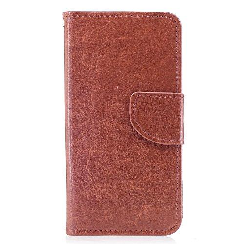 Cover iphone x, Alfort 2 in 1 Custodia Alta qualità Cuoio Flip Stand Case per la Custodia iphone x Ci sono Funzioni di Supporto e Portafoglio ( Blu ) 5,8 pollici Brown
