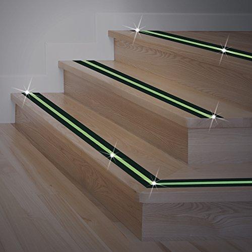 Leuchtendes Anti-Rutsch-Klebeband 4,5 Meter Fluoreszierendes Leuchtklebeband Glow-in-the-dark für Treppen Stufen usw Wasserfest für drinnen und draußen, im Hellen Gelber Streifen, im Dunkeln Grün (Treppenstufen Streifen)