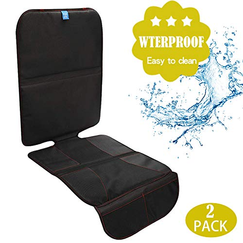 Funbliss Car Seat Protector for Baby Child Car Seats - Auto Seat Cover Mat for Under Carseat with Thickest Padding to Protect Leather & Fabric Upholstery - Waterproof and Dirt Resistant (2 Pack)