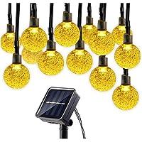 سلسلة مصابيح زينة ليد كريستال تعمل بالطاقة الشمسية لعيد الميلاد وحفلات الزفاف، مقاومة للمياه، 30 قطعة ديكورات داخلية وخارجية، اللون ابيض دافئ