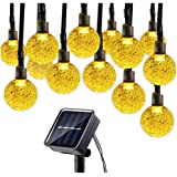 Solar String Lights for Christmas Wedding Party Festival, Waterproof 30 LED Crystal Globe Fairy Lamp for Outdoor Indoor Decor