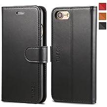 Custodia iPhone 7, TUCCH Cover in Pelle [GARANZIA DI VITA], Supporto Stand, Porta Carte e Protettiva Flip Portafoglio Flip Wallet Case per iPhone 7, con Chiusura Magnetica - Nero