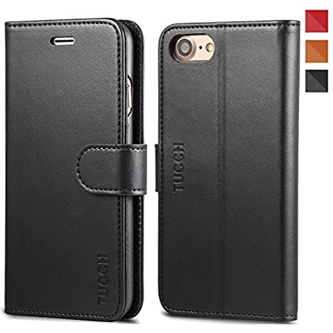 iPhone 7 Case, TUCCH iPhone 7 Leather Case, [Lifetime Warranty] 3 Credit Card Holders and 1 Money Slot Wallet Case with Stand Feature,Leather Folio Flip Cover for Apple iPhone 7-Black