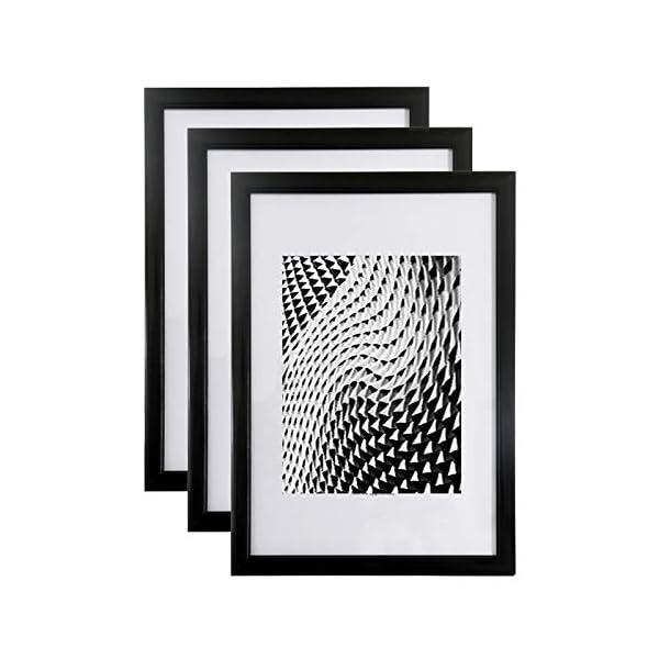 lot de 3 cadres photos noir a4 21x29 7 cm cadre photo en r sine avec vitre en verre de. Black Bedroom Furniture Sets. Home Design Ideas