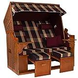 Möbelcreative Strandkorb Ostsee ROYAL XXL Volllieger - Extra Breit - 150 cm in Burgund grün kariert inklusive Schutzhülle, ideal für Garten und Terrasse