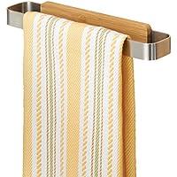 mDesign Toallero sin talado – Perchero adhesivo, ideal para paños de cocina – Montaje sencillo, basta con pegarlo a los muebles o azulejos – Percha de cocina de bambú natural