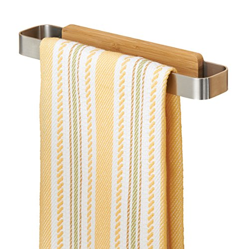 mDesign Handtuchhalter - Geschirrtuchhalter aus Edelstahl (BHT: 23,0 x 4,0 x 3,0 cm) zum Kleben an die Schranktür - Türhandtuchhalter ohne Bohren in Holzoptik - silberfarben