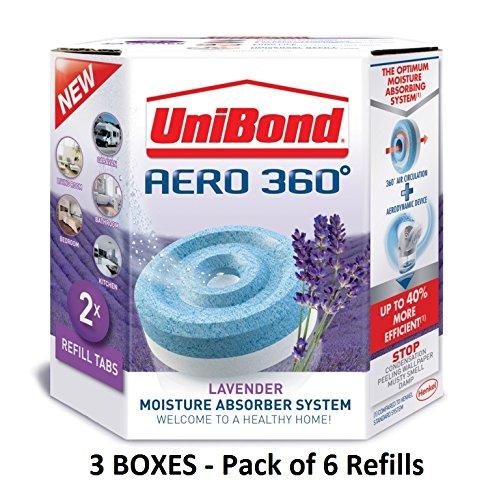 Unibond Aero 360 Lavendel Nachfüllung, 450 g - 2 Stück - weiß& blau, Pack3