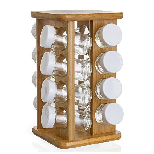 Gewürzständer aus Bambus - 16 Glasbehälter + drehbarer Halter