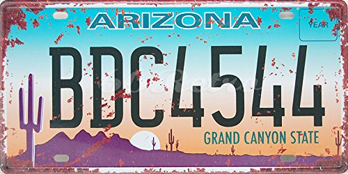 Arizona BDC4544 Grand Canyon State, US Auto License Plate, Vintage Wall Decorative Sign by 66Retro Auto License Plate