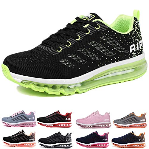 online store e37ac 67fb8 Homme Femme Air Baskets Chaussures Gym Fitness Sport Sneakers Style Running  Multicolore Respirante Black Green 41