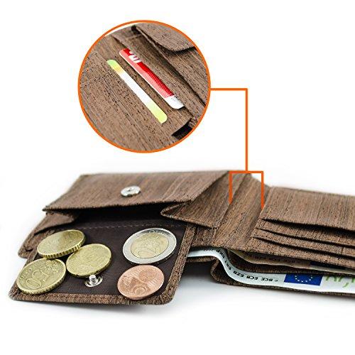 ACHERLA | Leichtes Bifold Herren Portemonnaie vegan aus Kork (dunkel) mit Geschenkbox wasserabweisendes, robustes, handmade Portemonee (dunkel) - 3