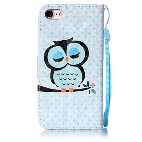 Ledowp Apple iPhone 8portafoglio in pelle, protezione integrale modello colorato design custodia in pelle custodia a portafoglio in pelle con slot per schede per iPhone 8 rosa Flower #6 Owl #3