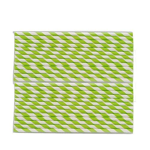 Denshine 50 x Papierstrohhalme gestreift Strohhalm Papier Trinkhalm für Hochzeit Party Weihnachten(Grüne Streifen) (Gemusterte Papier Strohhalme)
