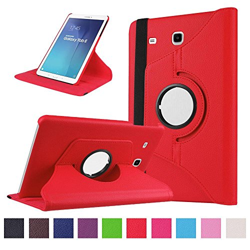 Samsung Galaxy Tab E 9.6 Coque,Flip Case Cover Avec Stand Étui en PU Cuir Rotative 360 degrés Housse de Protection pour Samsung Galaxy Tab E 9.6 Pouces SM-T560 / T561 Coque en Cuir Protecteur (Rouge)