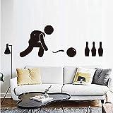 Cartoon Bowling Player Wandaufkleber Vinyl Abnehmbare Billige Bunte Spielen Bowling Wandtattoo DIY Bowling Wohnkultur Schlafzimmer 77 * 43 cm