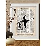 Kunstdrucke Dinosauriern, Reptilien auf Antike Buchseite,#DE005
