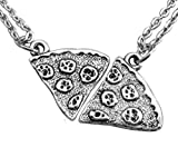 MJARTORIA Antik Silber Farbe Pizza Slice Halskette freundschaftsketten Stück 2